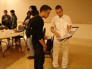 Carlos Tejada shows his career portfolio